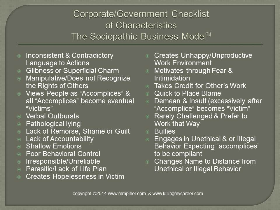 Checklist of Characteristic of The Sociopathic Business Model