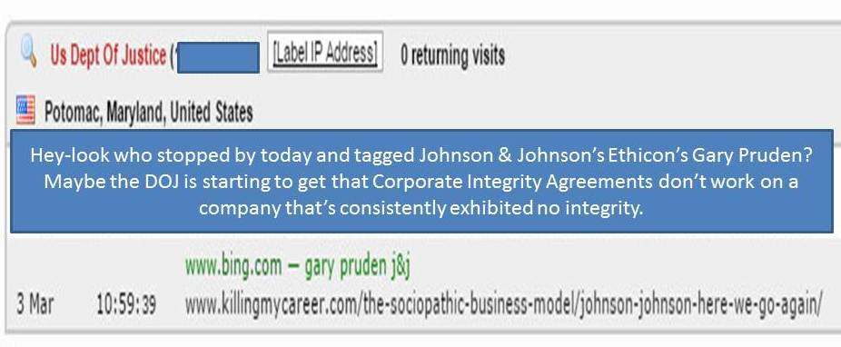 DOJ tags Johnson & Johnson's Ethicon's Gary Pruden on a story about corporate integrity killing my career