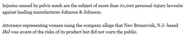 Johnson & Johnson responsible for 22 thousand personal injury lawsuits for mesh