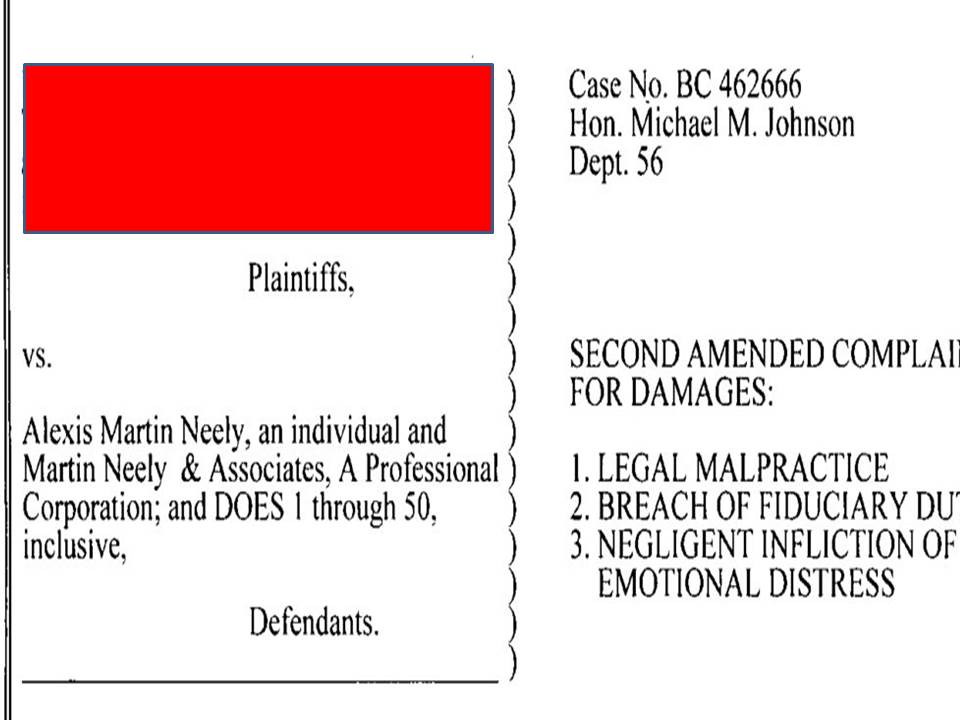 Alexis Martin Neely Lawsuit Case No BC 462666