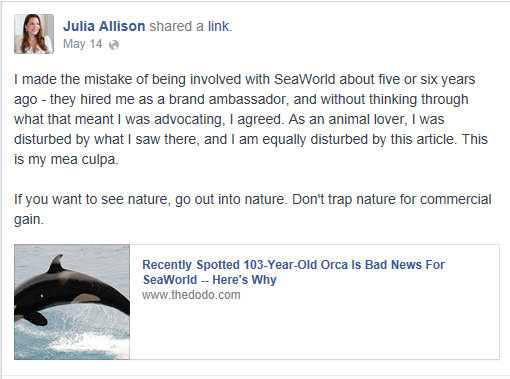 Julia Allison Former Brand Ambassador to SeaWorld