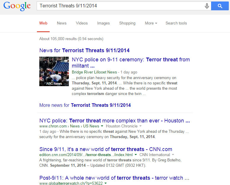 Google Terrorist Threat 9 11 2014