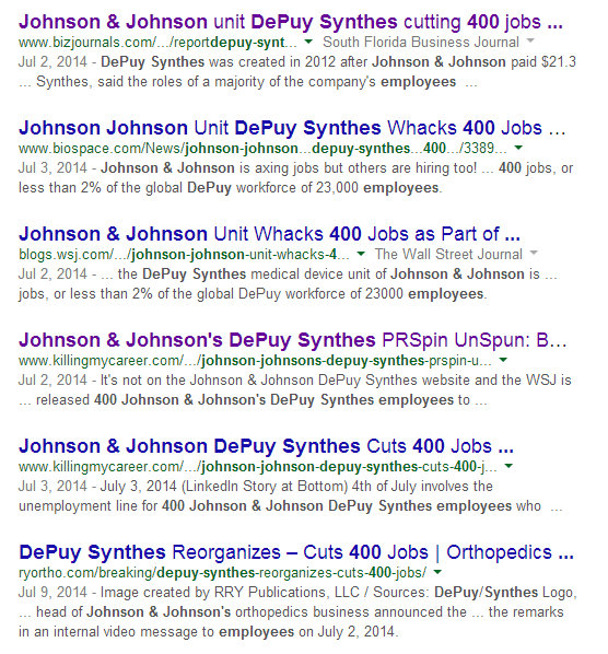 Johnson & Johnson laying off 400 DePuy Synthes Employees Wall St. Journal Source