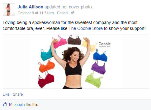 Julia Allison Facebook Coobie Inconsistent and Contradictory Language to Action