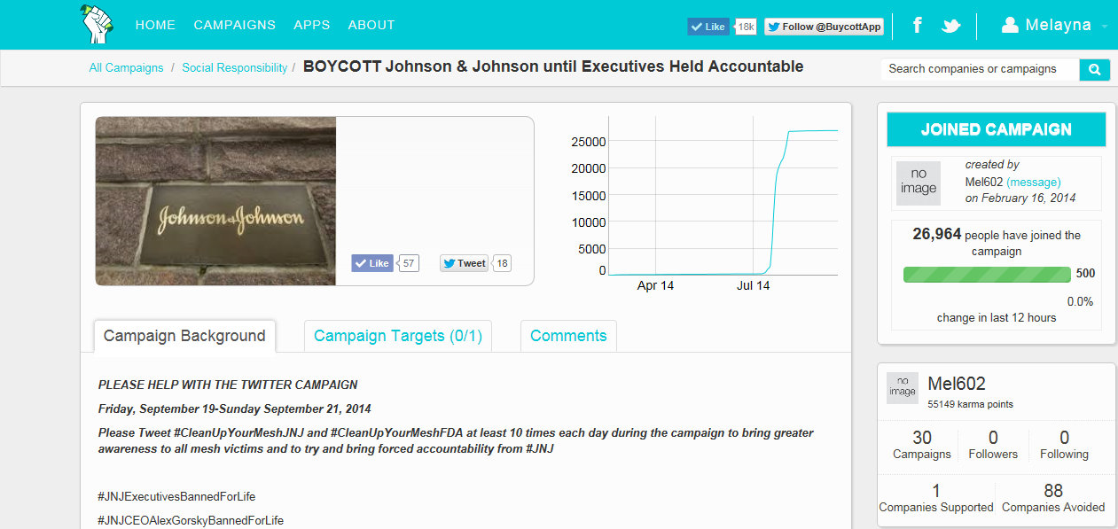 Buycott Johnson & Johnson Twitter Tie In Campaign