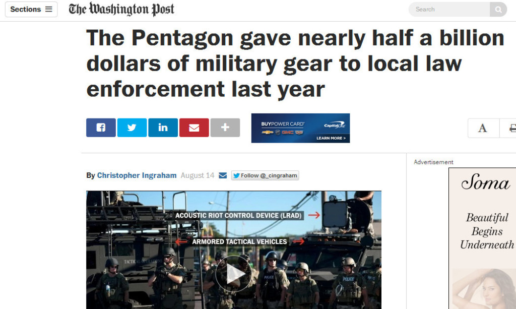 Pentagon Gave nearly half a billion to local law enforcement