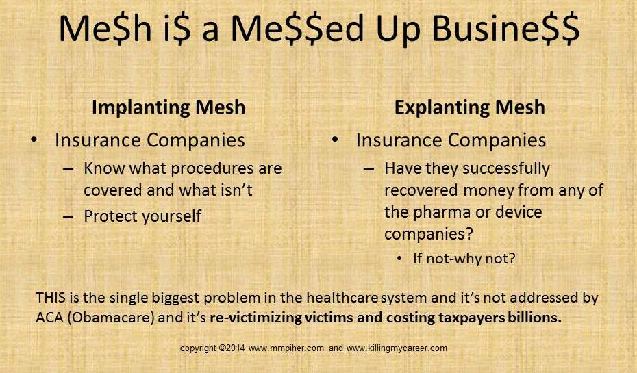 Mesh Insurance Companies Killing My Career
