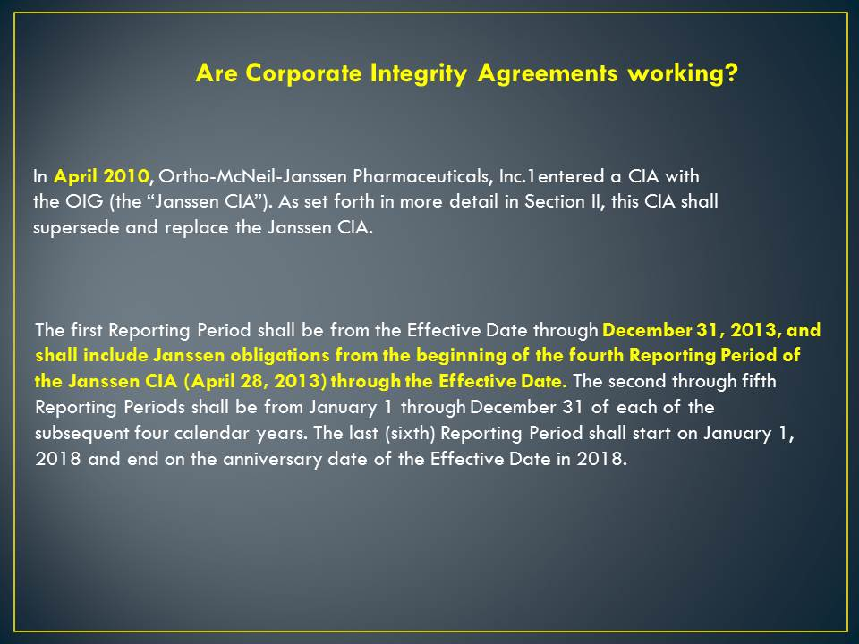Corporate Integrity Agreements Do Not Work Killing My Career