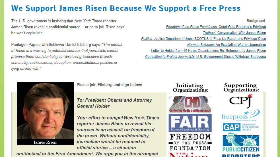 James Risen Support Freedom of the Press
