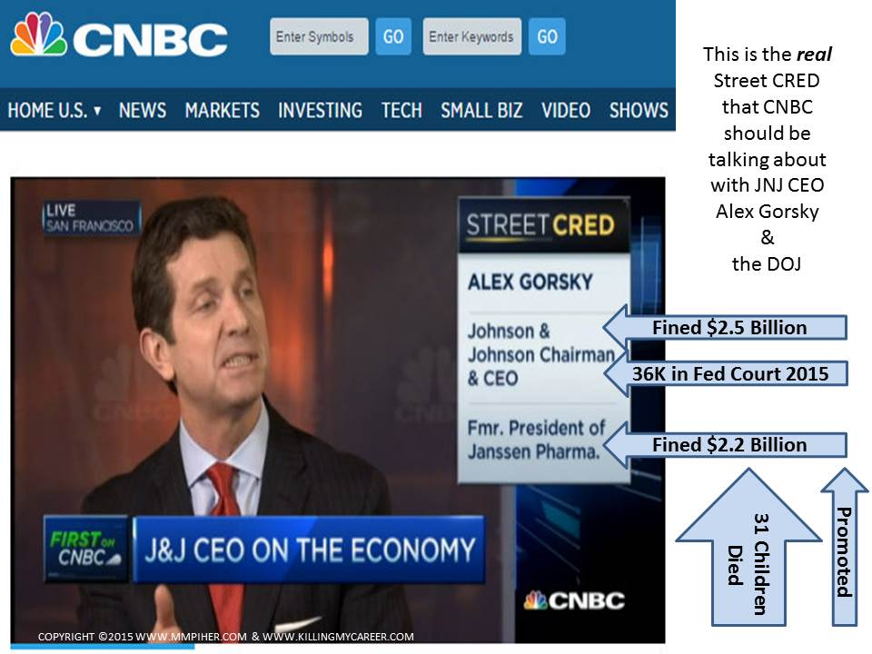 Alex Gorsky CNBC Street Cred Screentshot With Crimes and Fines