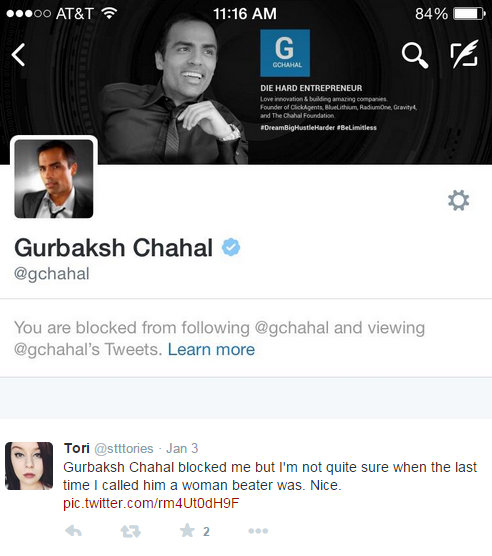 Gurbaksh Chahal - blocked twitter follower because of forced accountability