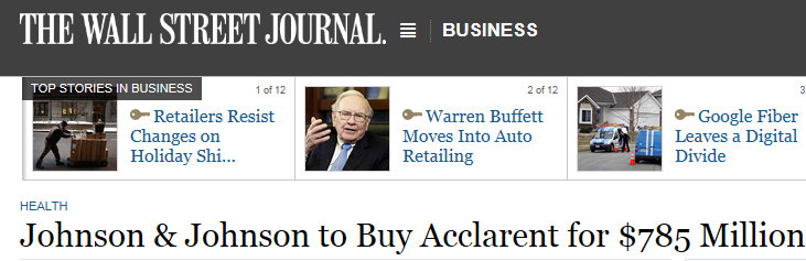 Johnson & Johnson buys Acclarent WSJ
