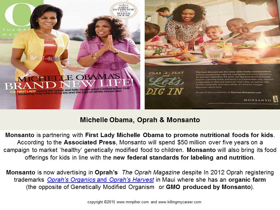 Michelle Obama Oprah and Monsanto #TheSociopathicBusinessModel