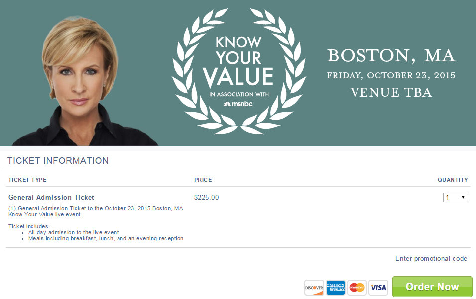 #KnowYourValue 225.00 ticket to Boston Event October 23 2015