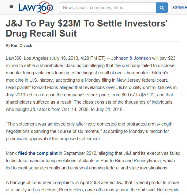 Law 360 still has Johnson & Johnson to pay $23 million for Mismanagement case stockholders