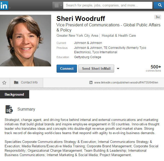 Sheri Woodruff From GM to JNJ Gold Standard LinkedIn 1