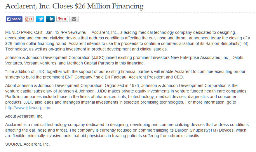 JJDC a division of Johnson & Johnson funds $26 million to Startup Acclarent