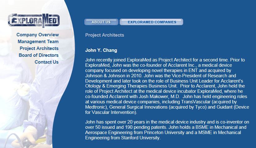 Project Architects John Y Chang co-founder at Acclarent
