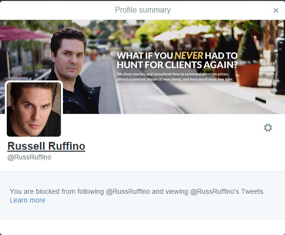 Unethical Russell Ruffino blocked when forced accountable about network logo fraud