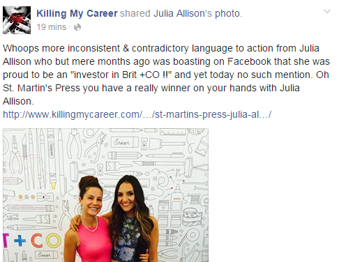Julia Allison inconsistent & contradictory language to action June to September 2015
