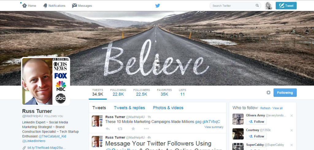 Russ Turner Twitter As Seen On CBS news Fox NBC and ABC 7 13 2015