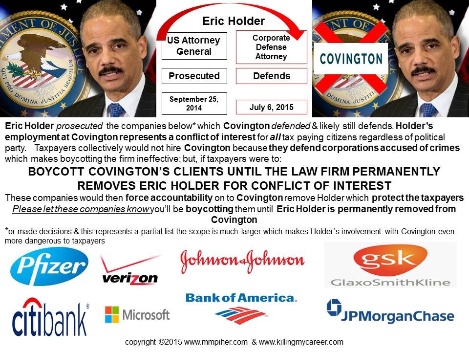 Boycott Covington Clients until they permanently remove Eric Holder from their firm due to conflict of interest #TheSociopathicBusinessModel