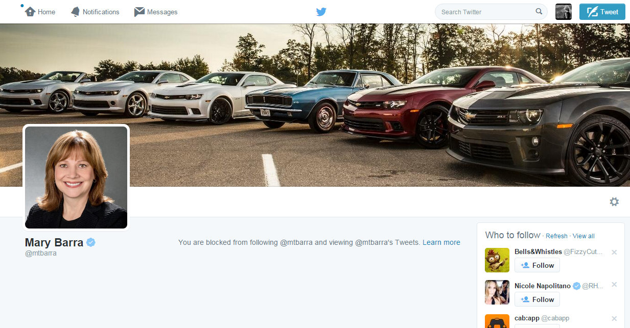 I guess GM CEO Mary Barra didn't like getting hashtag hijacked during #ILookLikeAnEngineer for #ILookLikeASerialKiller