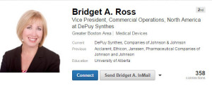 Bridget Ross Death Squad Subsidiaries at Johnson & Johnson now at DePuy Synthes