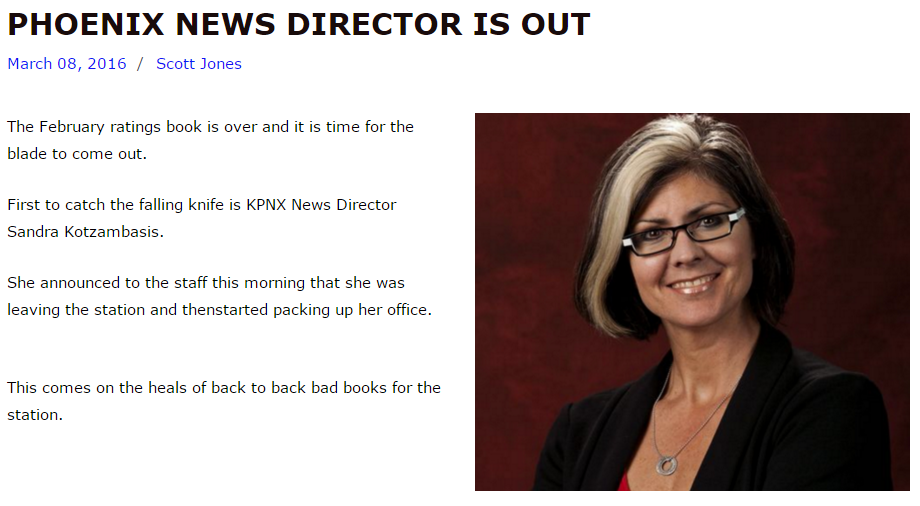 Sandra Kotzambasis out as TEGNA NBC 12 News KPNX News Director