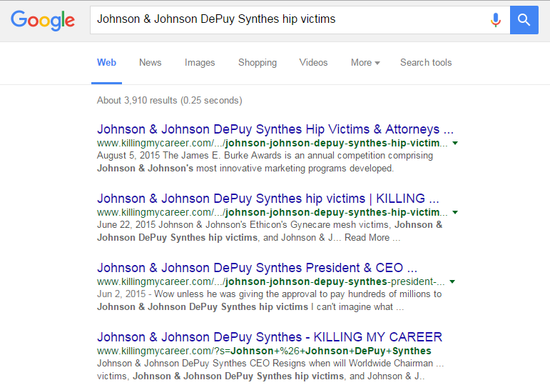 Another example when Googling Johnson & Johnson DePuy Synthes hip victims, this sight SHOULD NOT be the first.