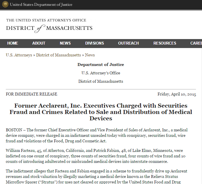 Johnson & Johnson Ethicon Acclarent Executives former charged with Securities fraud
