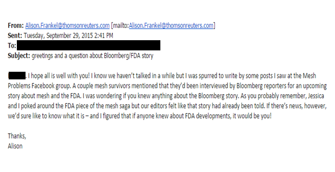 Reuters Editor On The Case Alison Frankel's unethical journalism for personal gain at the expense of an injured victim