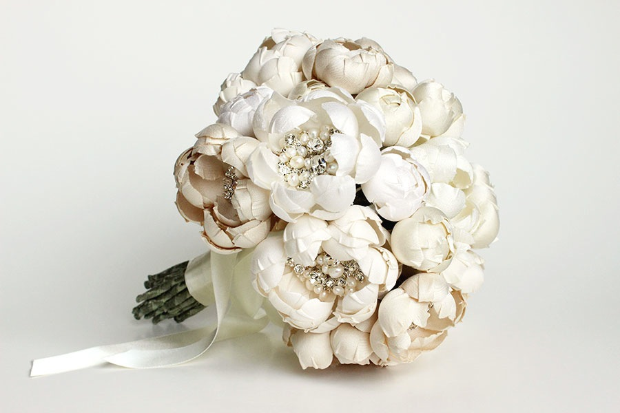 Petite Couture Silk Fabric Flower Crystal and Pearl Bouquet.
