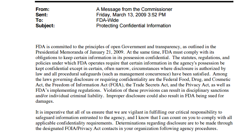 Read the entire memo from Torti Sr. censoring FDA whistleblowers and illegally refusing FOIA requestions