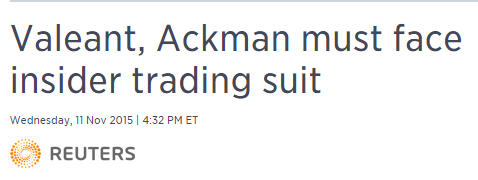 Setting out to Sea Ackman could face insider trading suit.