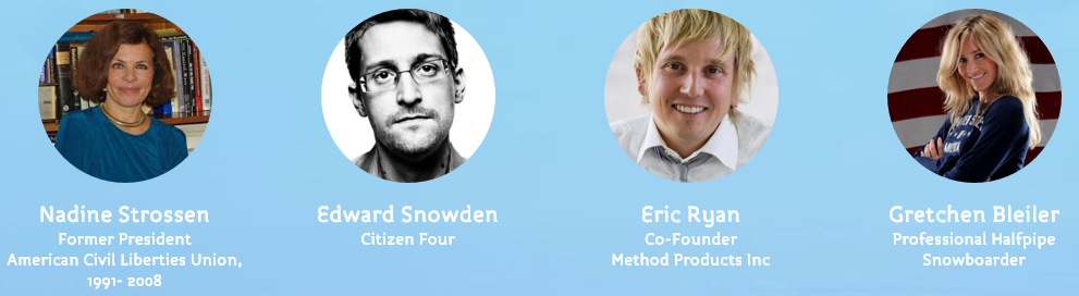 Disappointed to see Snowden on this list, he exposed fraud and now he's virtually hanging out with frauds.