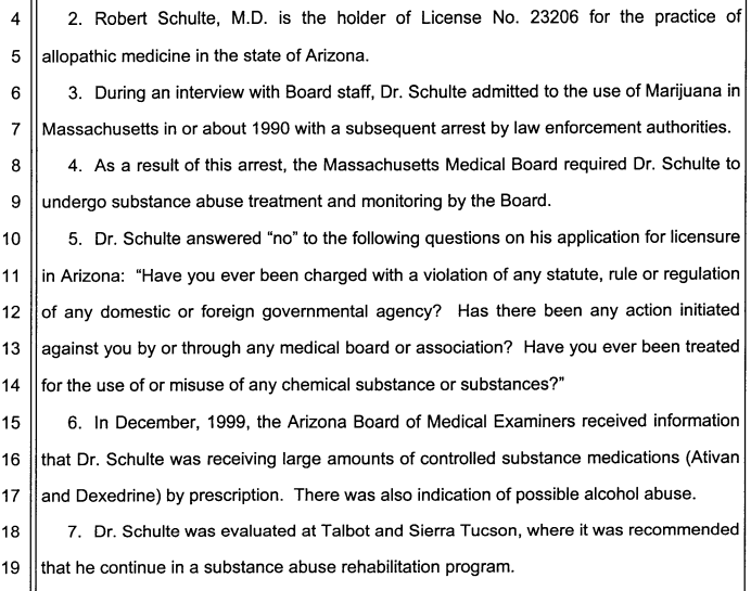 Dr Robert Schulte failed to disclose drug addiction to AZ medical Board