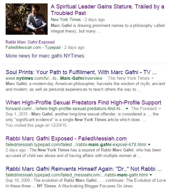 Gafni's Google search SEO is screwed now. Thanks to Mark Oppenheimer of The New York Times!