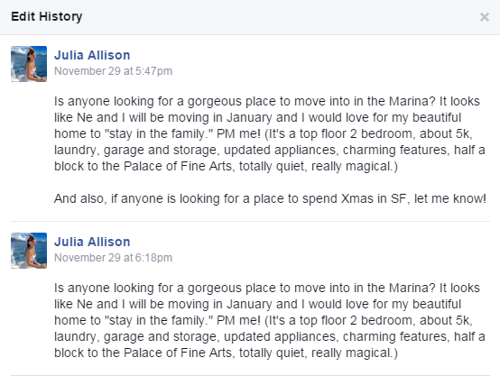 Julia Allison November 29 wanting to sublet her place over Christmas