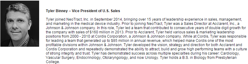 Neotract brought in former JNJ Acclarent Tyler Binney to run Sales