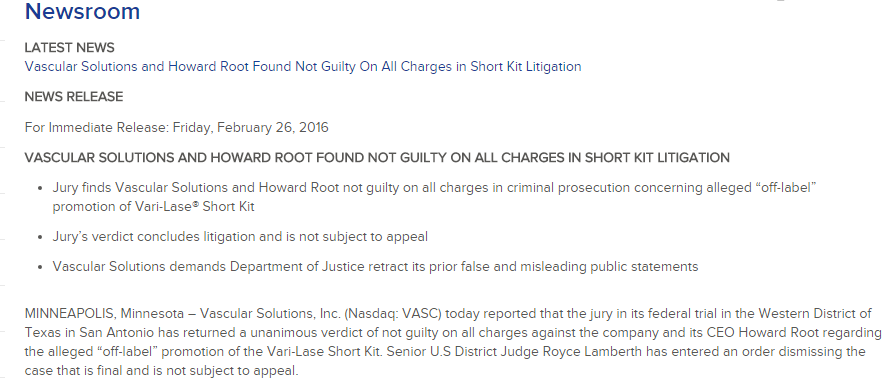 "Root's hubis-filled manifesto of a press-release which falsely claims he was found ""not guility,"""