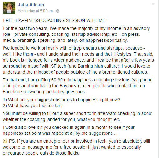 Julia Allison Free Happiness Coaching Sessions