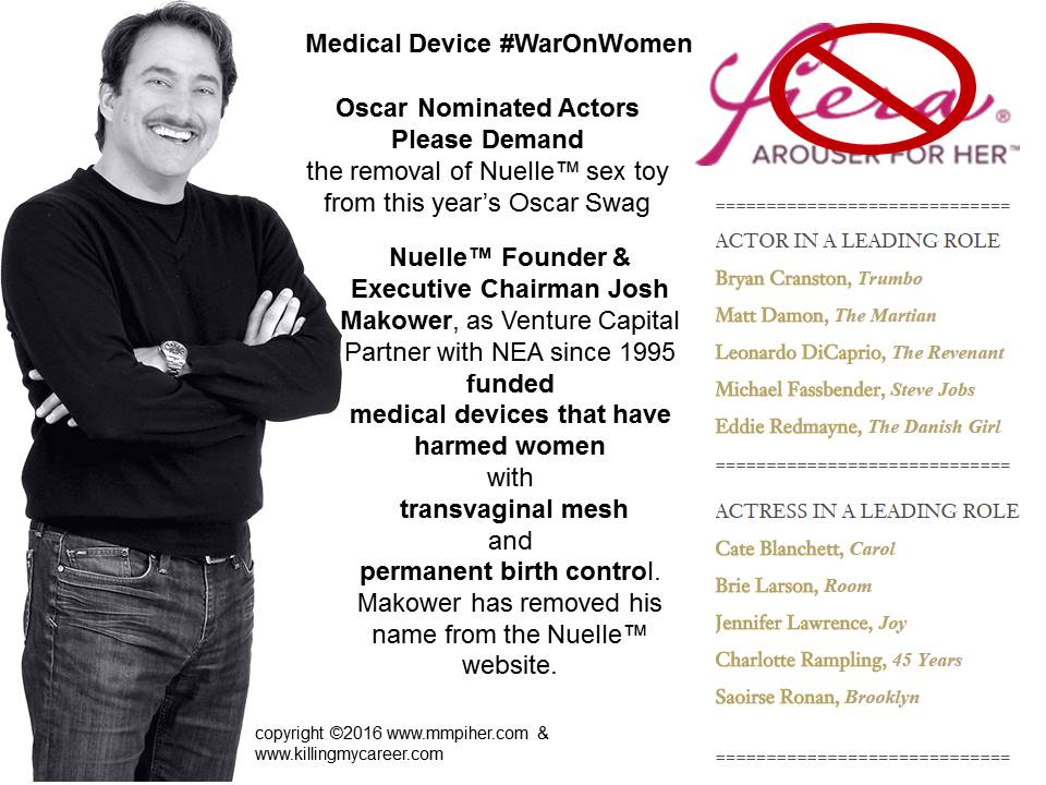 Oscar Nominated Actors Please Boycott Josh Makowers Nuelle Sex Toy from the Swag Bags for funding JNJ Gynecare & Bayers Essure