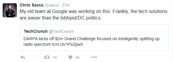 Here's pouting VC Chris Sacca's original tweet, complaining about those pesky little laws that prevent his genius.