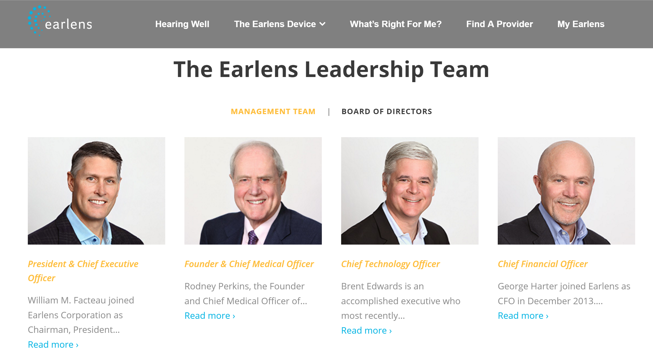 #GodsOfFrauds Earlens CoFounder Rodney Perkins CEO William Bill Facteau and George Harter