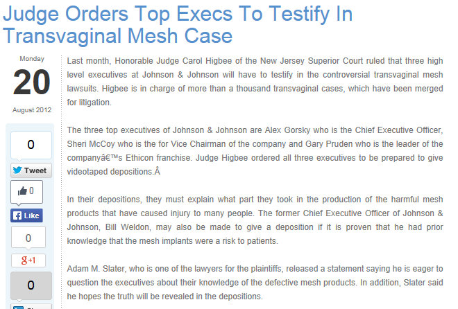 Alex Gorsky Gary Pruden Sheri McCoy Johnson & Johnson Ethicon Gynecare Executives testify in NJ Mesh Case