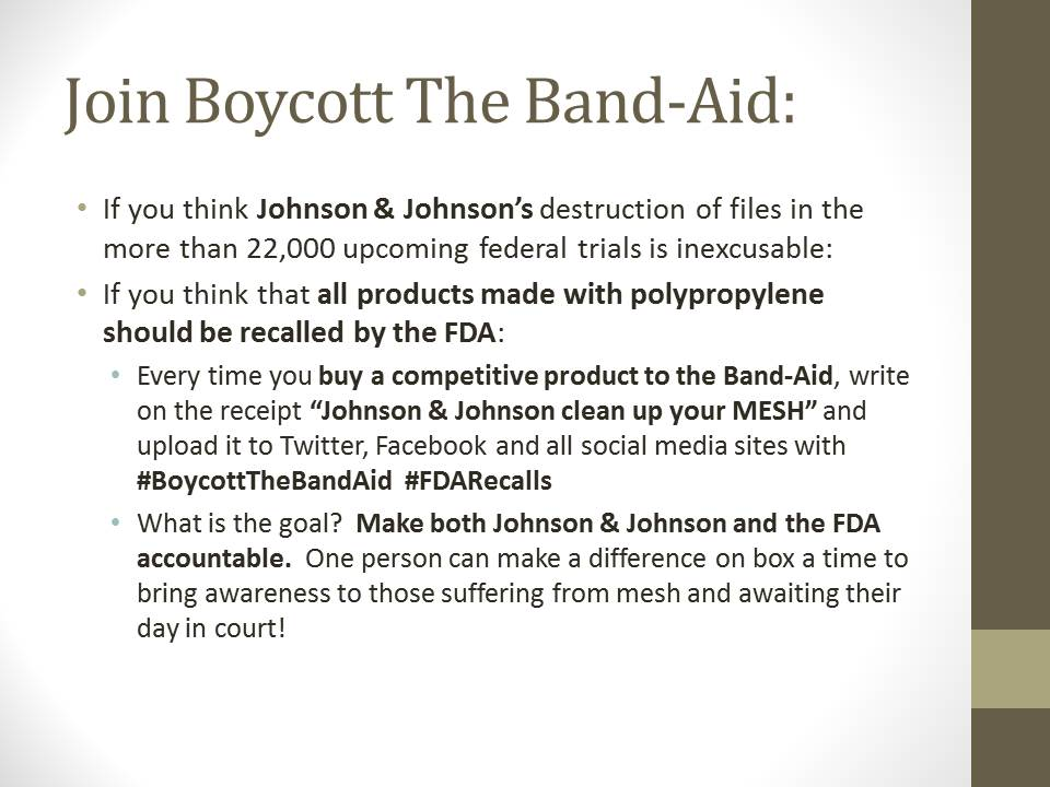 Boycott The Band Aid to bring awareness to the Gynecare Mesh Cases