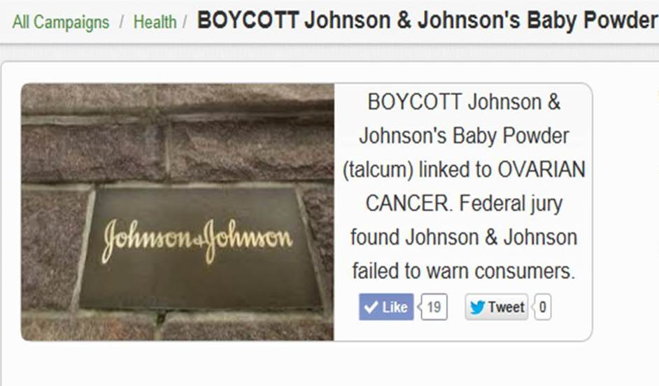 BOYCOTT Johnson & Johnson federal jury linked Baby Powder linked to Ovarian Cancer final