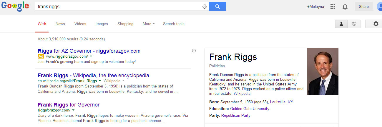 Frank Riggs Google Ad Campaign for Governor
