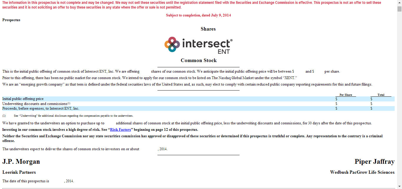 Intersect ENT July 9 Filing Update